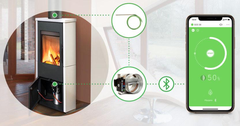 Automatická regulace hoření pro krby a kamna schema