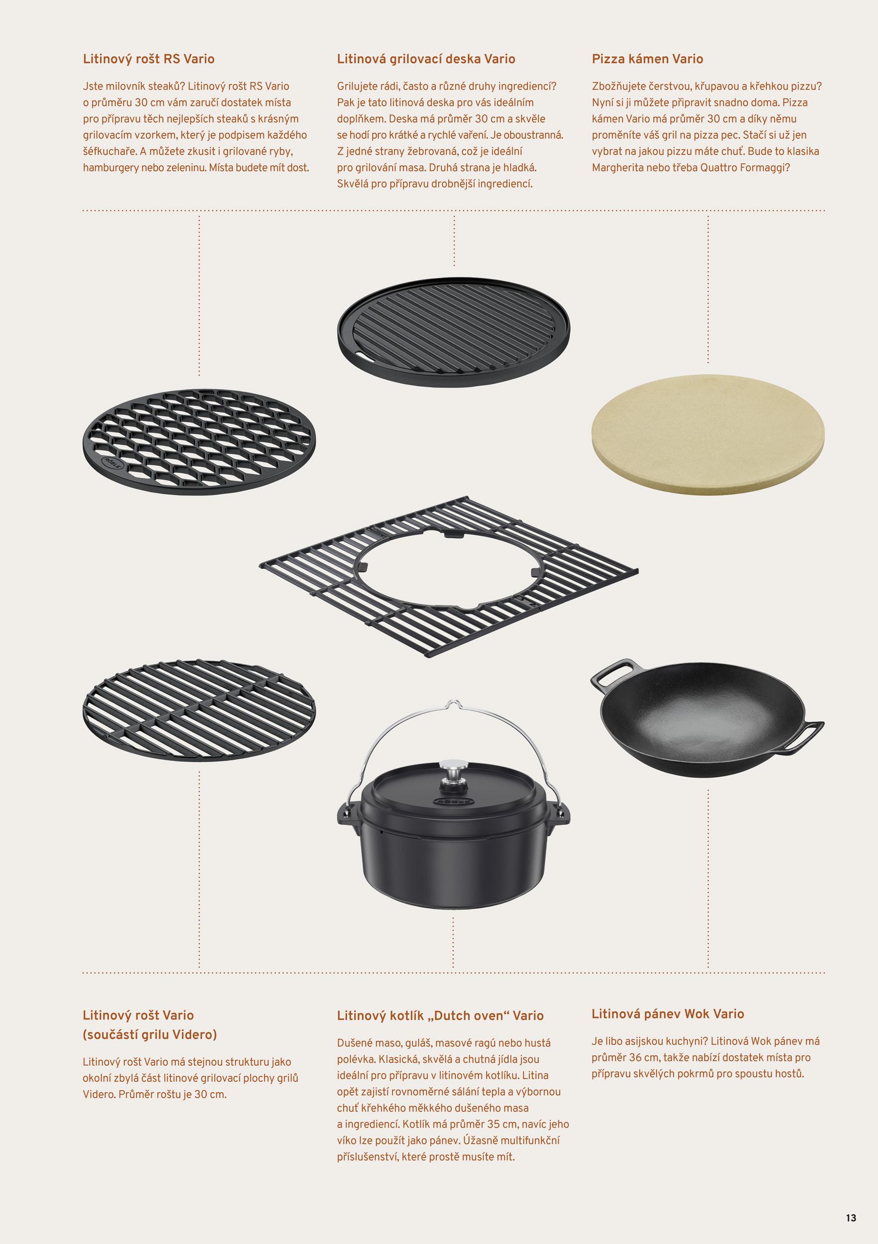 Rozšiřte své kulinářské možnosti s litinovým systémem Vario Všechny plynové grily Videro mají v základním vybavení litinový rošt Vario. Litina je na vaření prostě skvělá. Pevný, robustní materiál, který úžasně absorbuje teplo a pak ho rovnoměrně a postupně zase vydává zpět do připravovaných ingrediencí. Ty se tak vaří, dusí, pečou, grilují či udí rovnoměrně a zůstávají krásně křehké a šťavnaté.